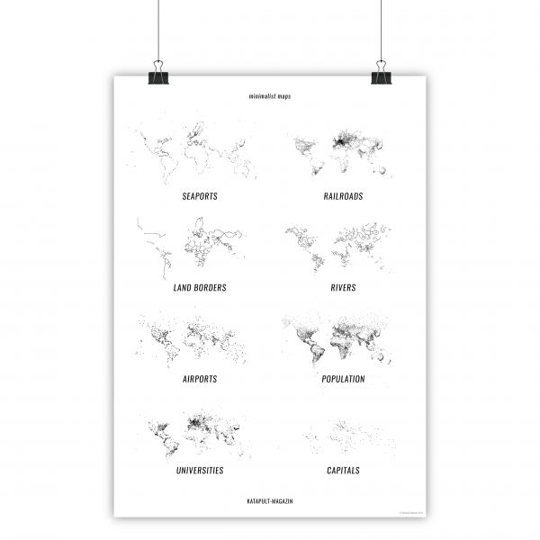 Poster: 8 minimalist maps (A1, weiß)