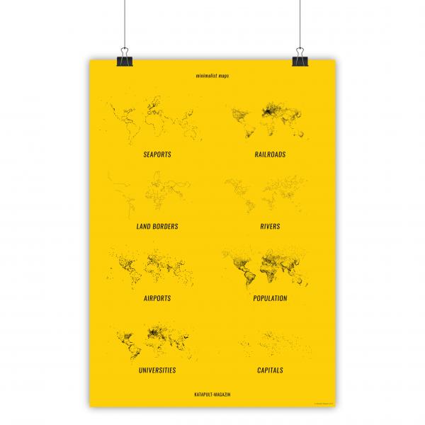 Poster: 8 minimalist maps (A1, gelb)